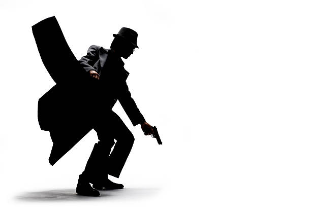 Silhouette of Man Holding Jacket and Gun on White Background stock photo