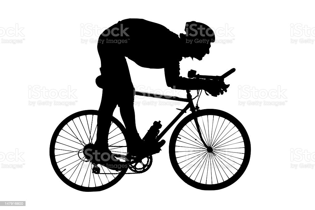 Silhouette of man riding a bicycle royalty-free stock photo
