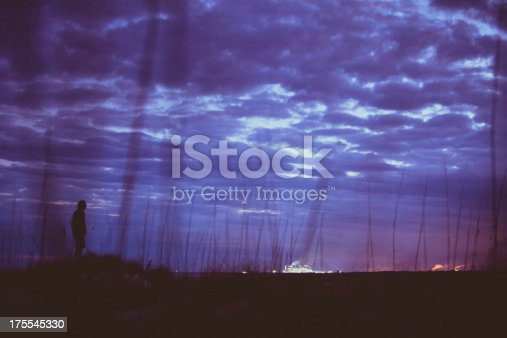 Silhouette of man standing amidst high grass on coastline during a cloudy sunset.