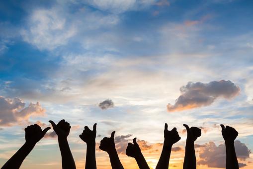 Photo libre de droit de Silhouette Of Many Thumbs Up Like Symbol Satisfaction Agreement banque d'images et plus d'images libres de droit de Accord - Concepts