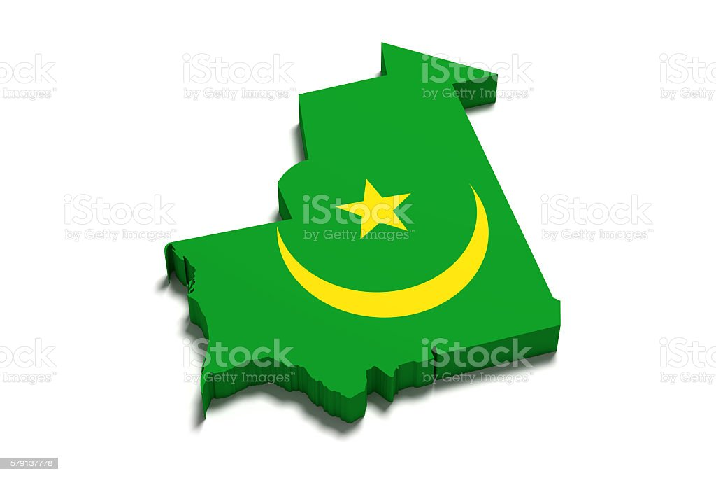 Silhouette of Mauritania map with flag stock photo
