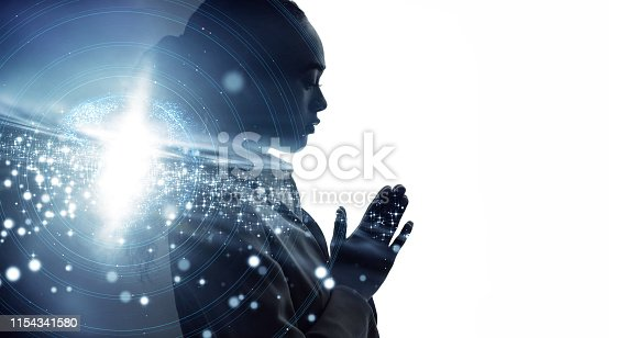 istock Silhouette of meditating woman. Mindfulness concept. 1154341580
