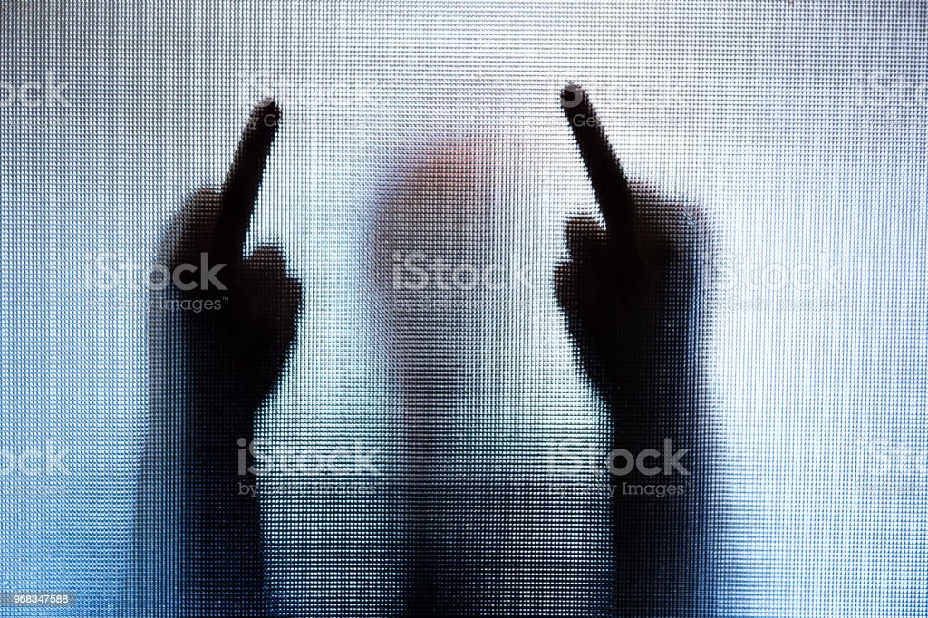 Color image depicting the silhouette of a person performing the rude...