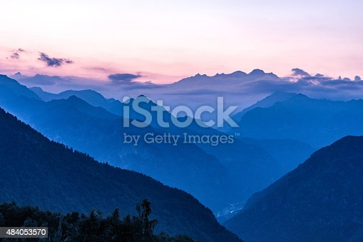 Silhouette of Monte Rosa, Italian Alps mountains misty landscape