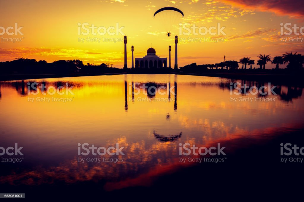 Silhouette of mosque at sunset royalty-free stock photo