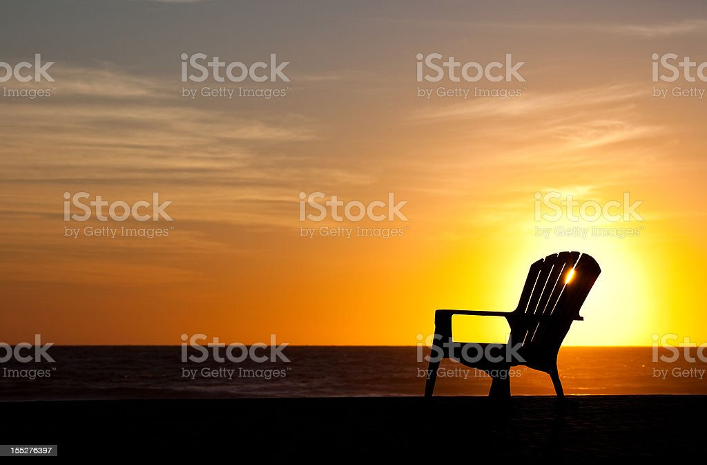 Silhouette Of A Adirondack Chairs On Beach Pictures, Images And Stock Photos