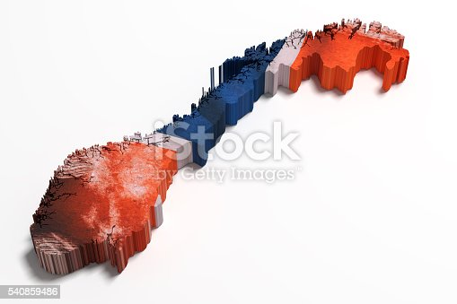 istock Silhouette of Norway map with flag 540859486