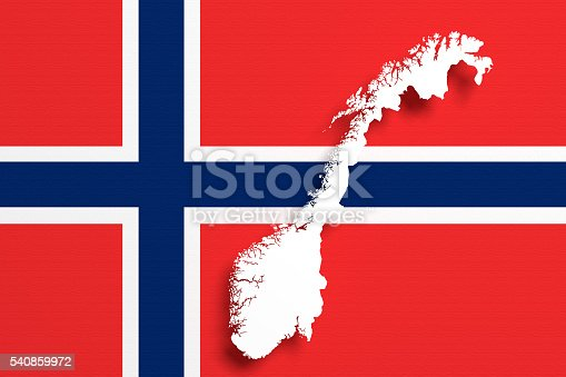 istock Silhouette of Norway map with flag 540859972