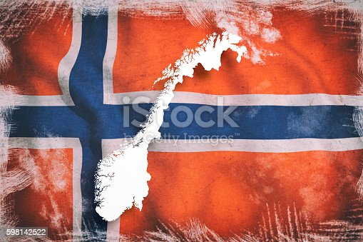 istock Silhouette of Norway map with flag 598142522
