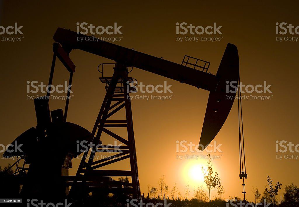 Silhouette of  oil rig royalty-free stock photo