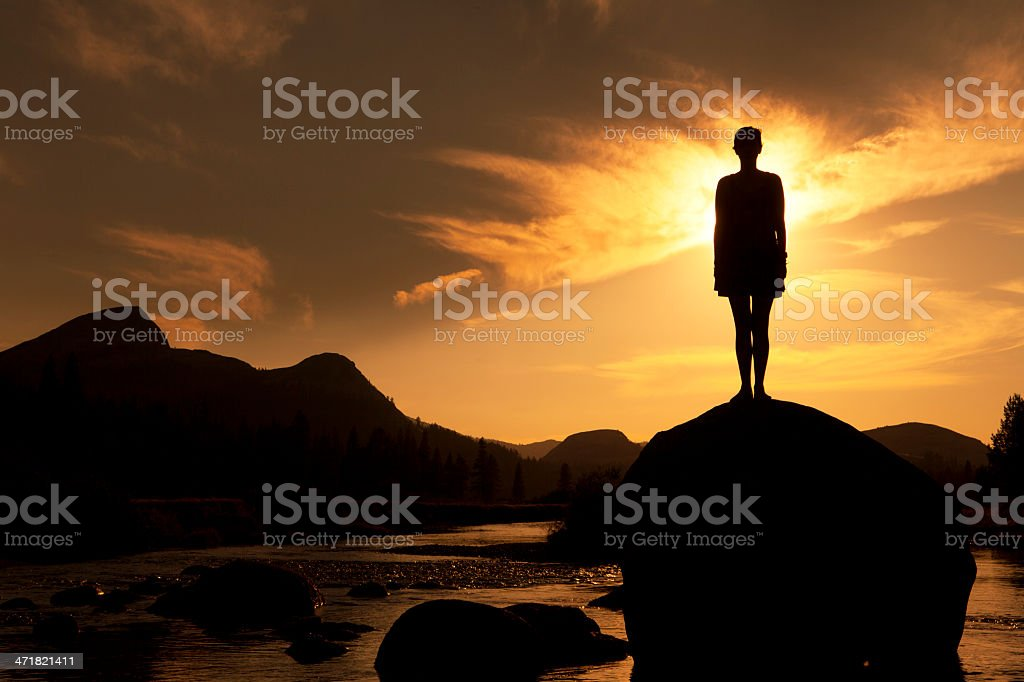 Silhouette of Outdoor Yoga, Standing Pose stock photo