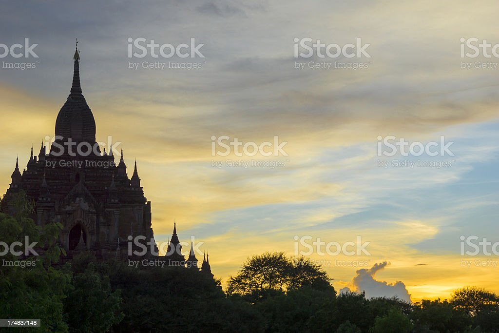 Silhouette of pagoda in hazy evening light, Bagan, Myanmar royalty-free stock photo