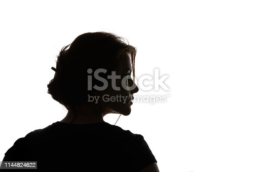 Silhouette of pensive woman looking away isolated on white