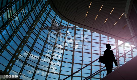 509630674 istock photo Silhouette of person in the airport 1157086889