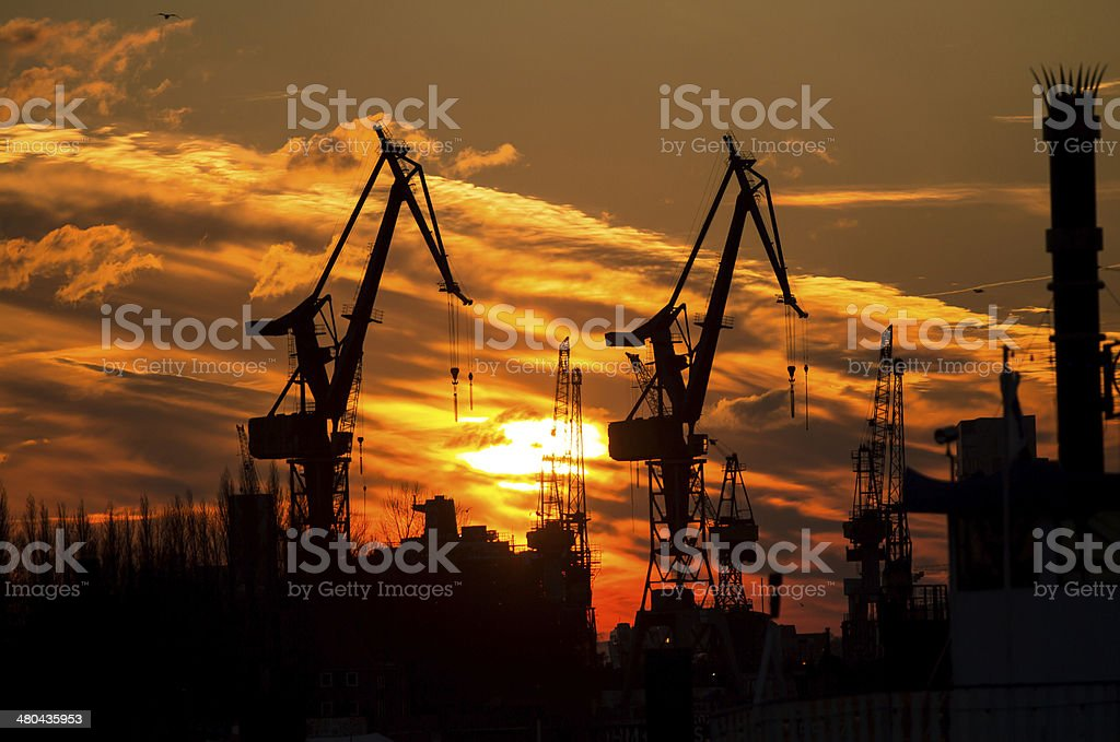 Silhouette of port in Hamburg stock photo