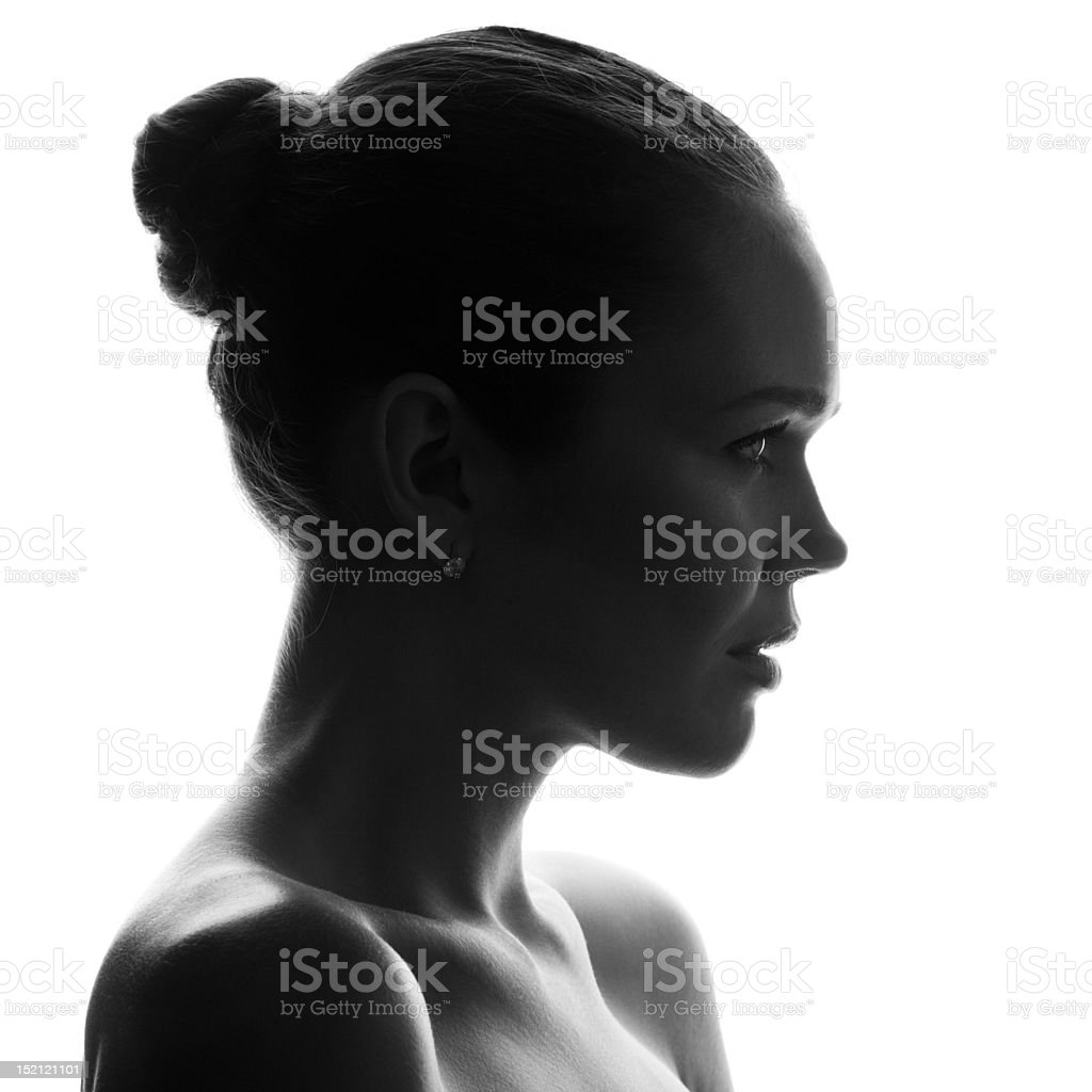 silhouette of pretty woman stock photo