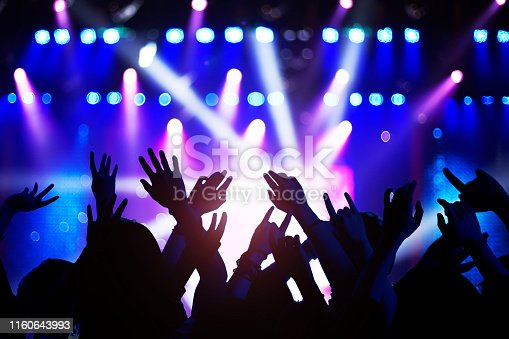 Silhouette of raised hands and arms at concert festival party