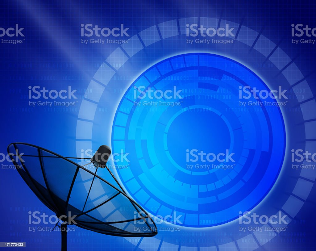 silhouette of satellight dish with blue digital background royalty-free stock photo