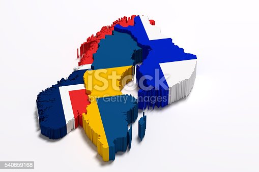 istock Silhouette of Scandinavian peninsula map with flags 540859168