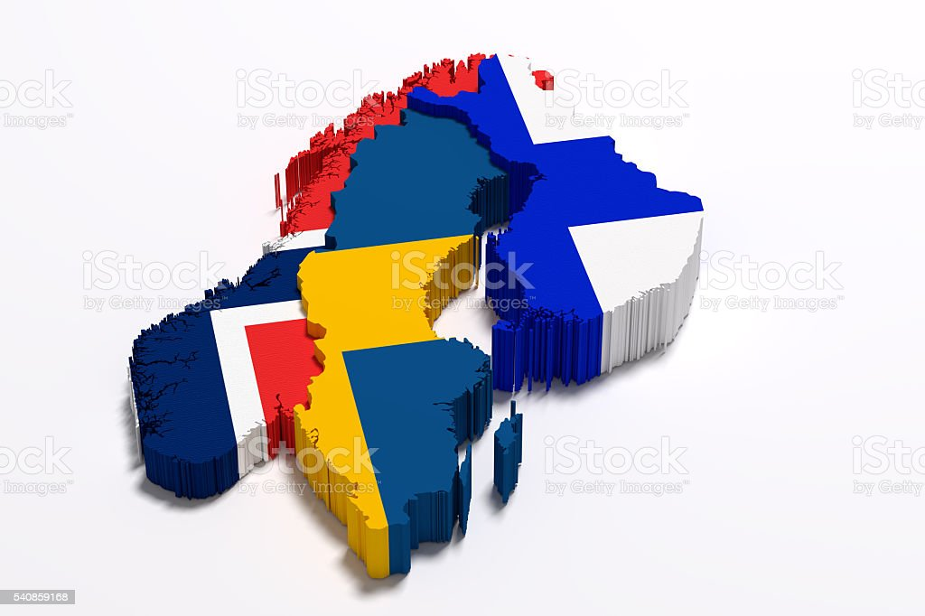 Silhouette of Scandinavian peninsula map with flags stock photo