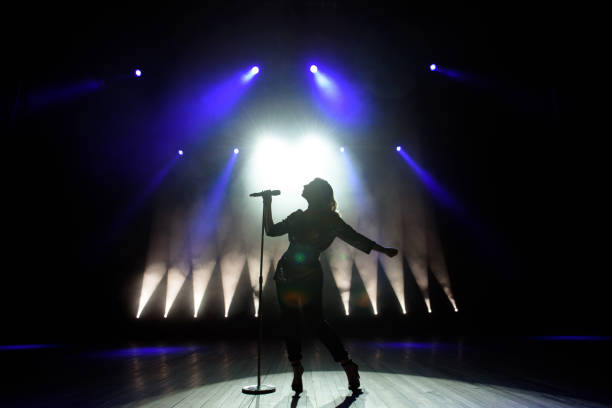 Silhouette of singer on stage. Dark background, smoke, spotlights. Silhouette of singer on stage. Dark background, smoke, spotlights performing arts event stock pictures, royalty-free photos & images