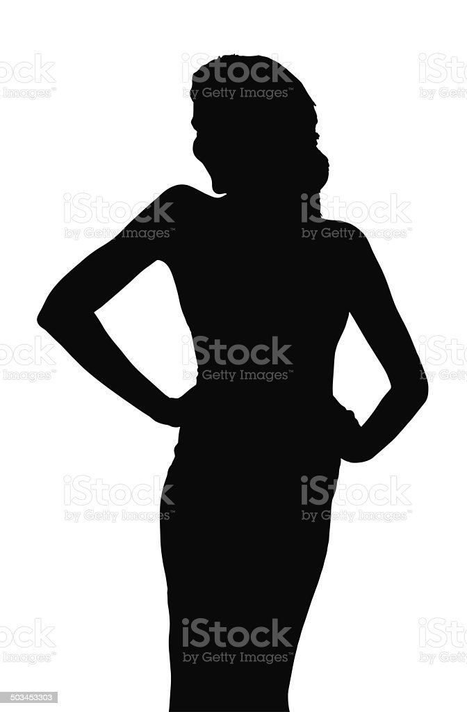 Silhouette of Slim Girl Posing at Beauty Pageant stock photo
