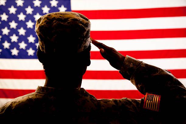 silueta de soldier hacer un saludo la bandera estadounidense - personal militar fotografías e imágenes de stock