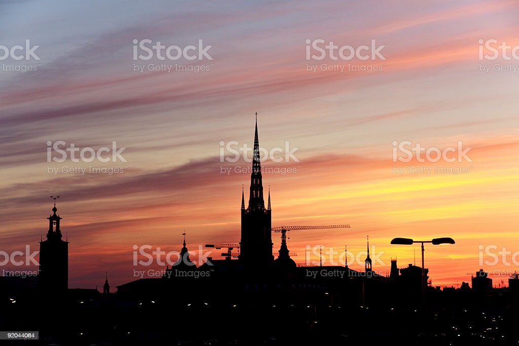 Silhouette of Stockholm, The City Hall, Riddarholm cathedral. Sweden royalty-free stock photo
