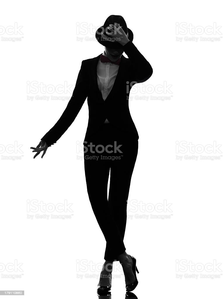 Silhouette of stylish woman dancing royalty-free stock photo