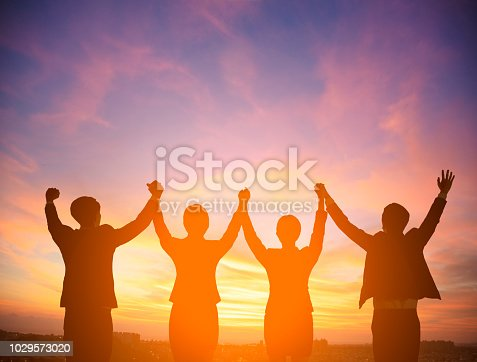 Silhouette of success business team concept