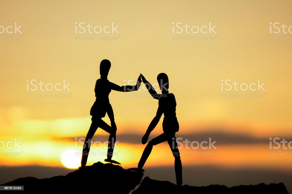 silhouette of successful people stock photo