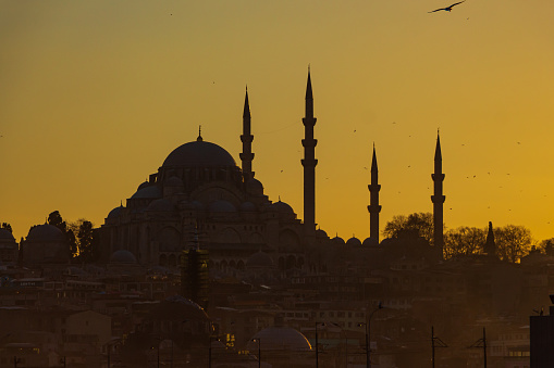 Silhouette of Suleymaniye Mosque in Istanbul