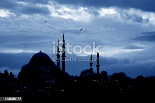 Silhouette of Selimiye Mosque with lights of the houses which are in front​ of it.