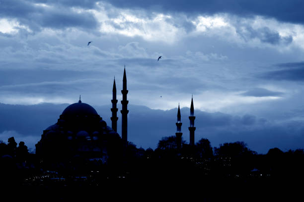 Silhouette of Suleymaniye Mosque Silhouette of Selimiye Mosque with lights of the houses which are in front of it. minaret stock pictures, royalty-free photos & images