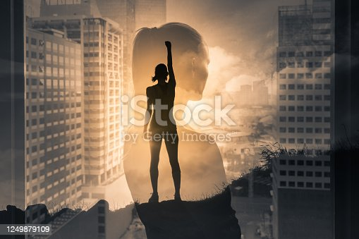 Mental strength, determination, and people power, positive thinking concept. double exposure.