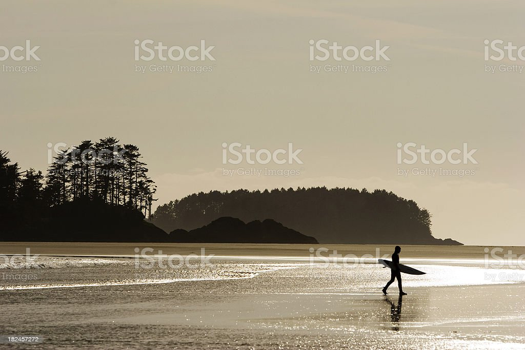 silhouette of surfer on beach. stock photo