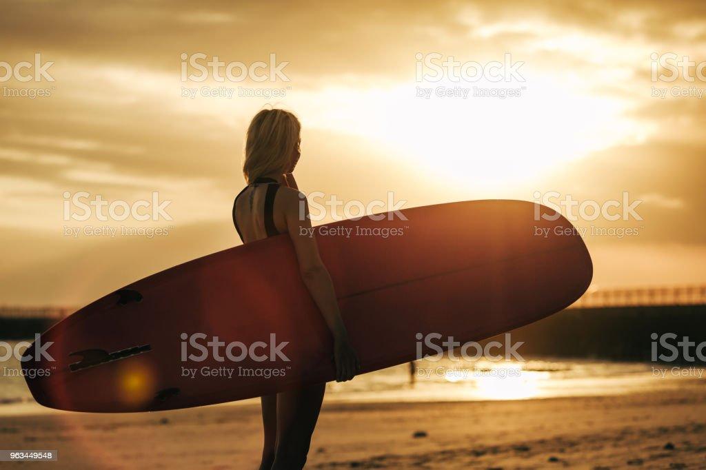arka ışık ile gün batımında sahilde surfboard ile poz sörfçü silüeti - Royalty-free Arka Işıklar Stok görsel