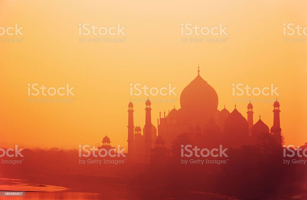 Silhouette of Taj Mahal, Agra, India stock photo