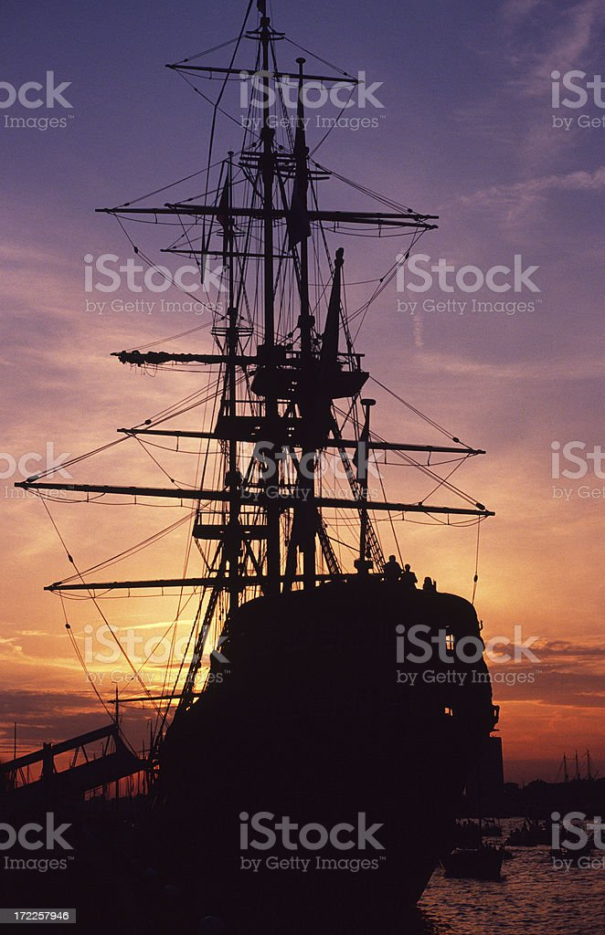 Silhouette of tall ship. royalty-free stock photo