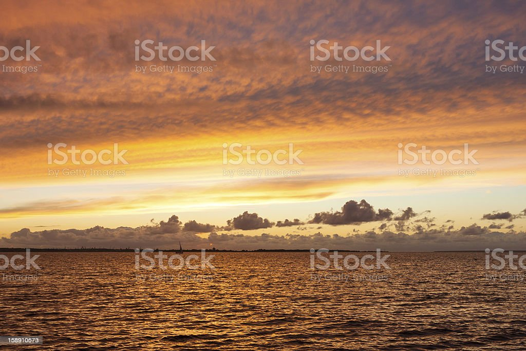 silhouette of tallinn with fire sunset royalty-free stock photo