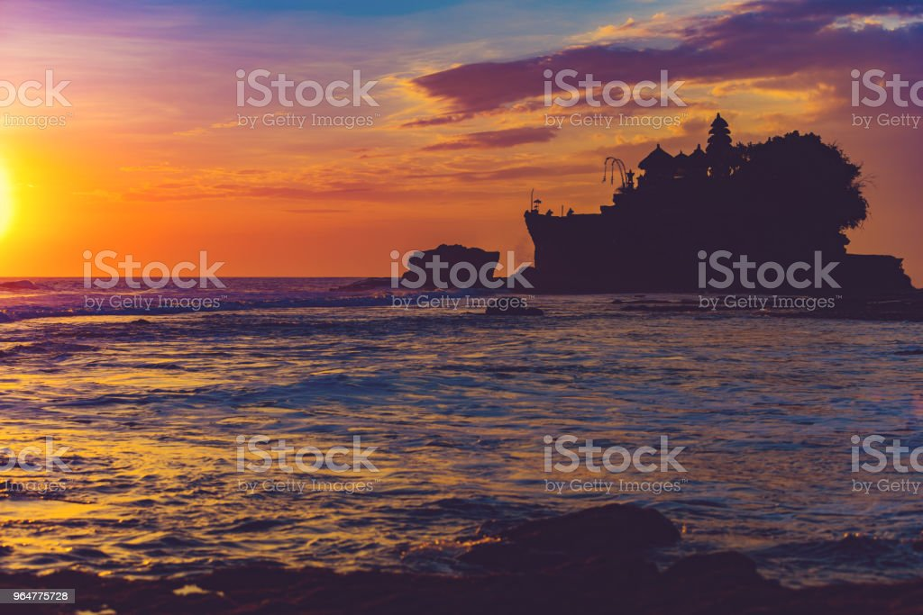 Silhouette of Tanah lot temple in Bali, Indonesia royalty-free stock photo