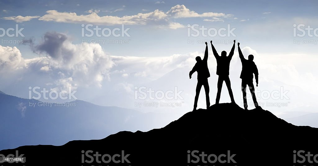 Silhouette of team stock photo