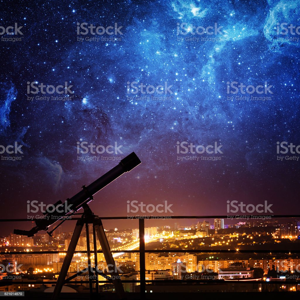 Silhouette of Telescope. stock photo
