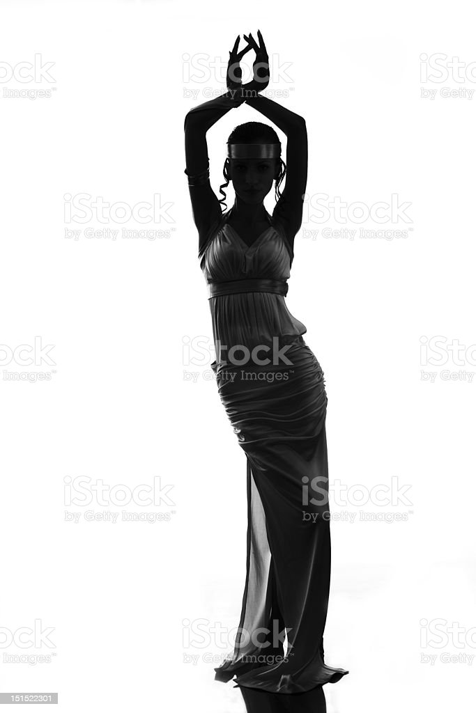 Silhouette of the antique goddess stock photo