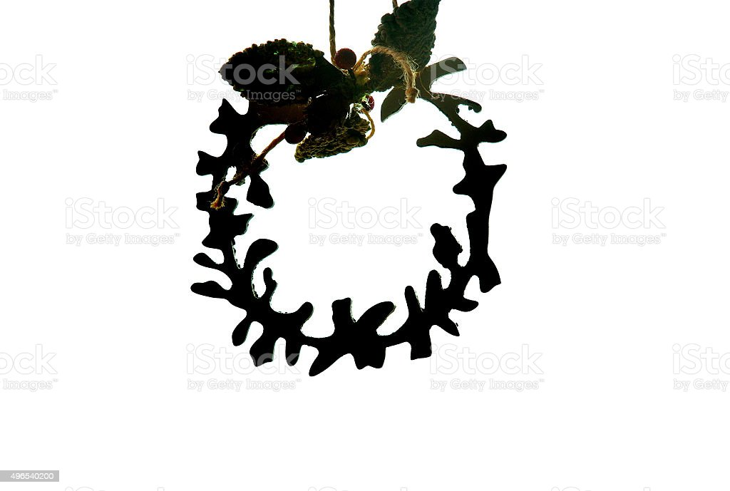 Christmas Wreath Silhouette.Silhouette Of The Christmas Wreath Stock Photo Download Image Now