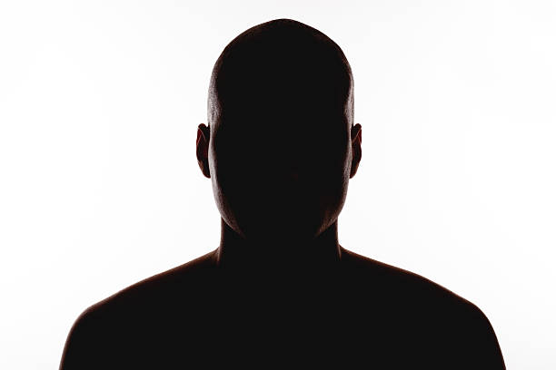 silhouette of the man on a white background - foton med many faces bildbanksfoton och bilder
