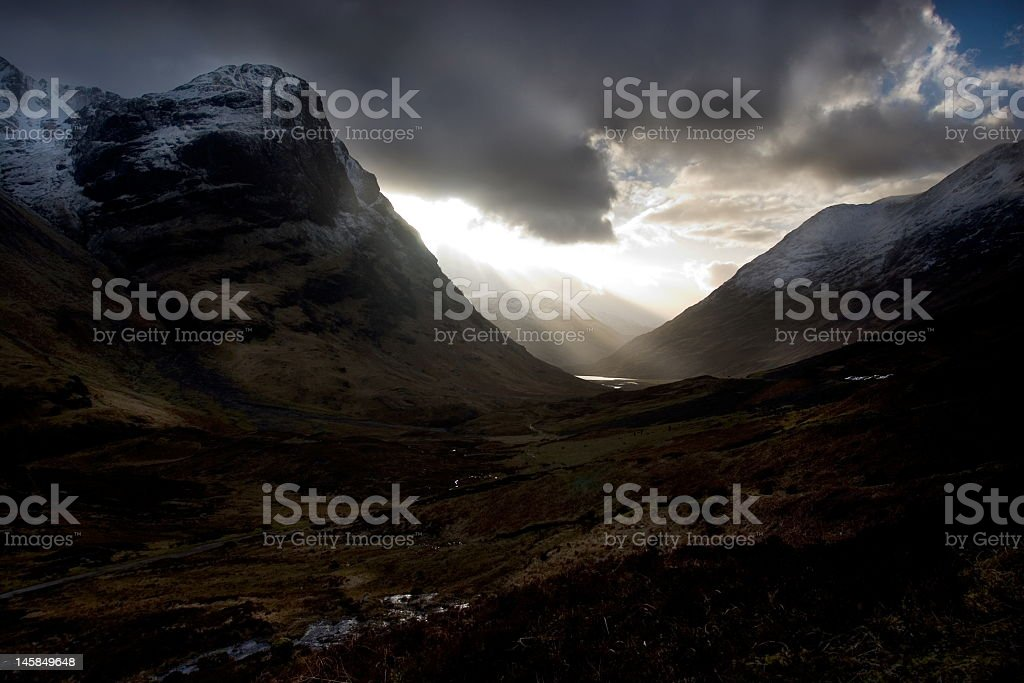 Silhouette of the Pass of Glencoe stock photo