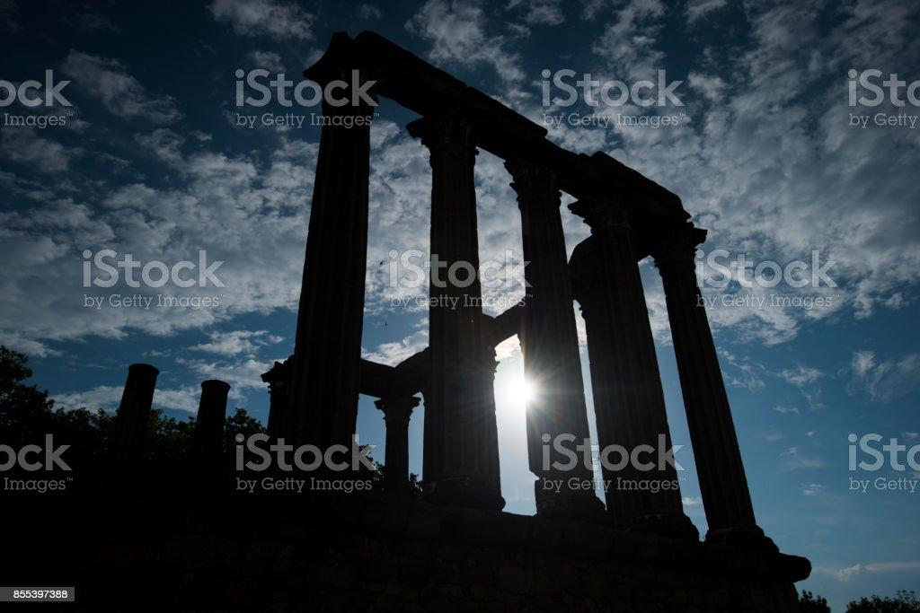 silhouette of the roman temple, evora, portugal stock photo