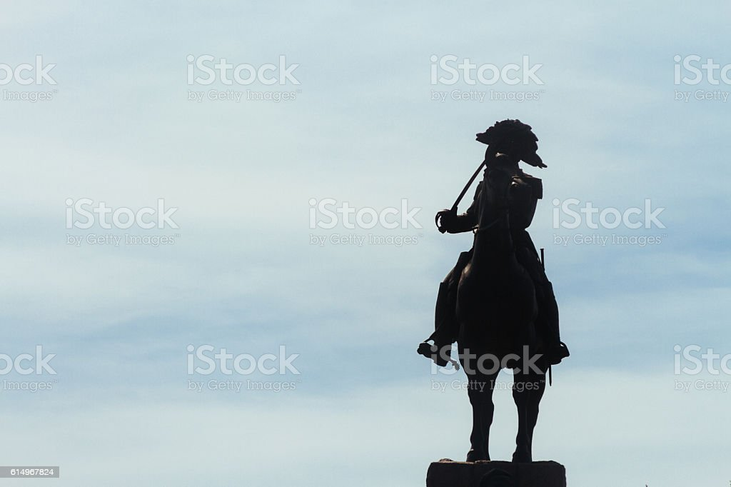 Silhouette of the statue of General San Martin stock photo
