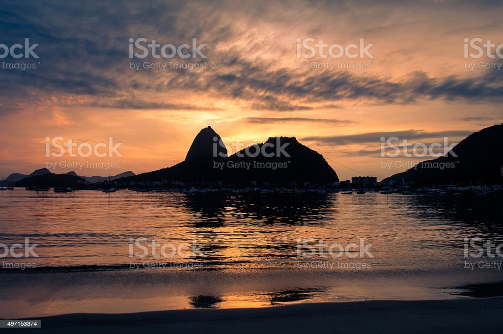 Silhouette of the Sugarloaf Mountain stock photo